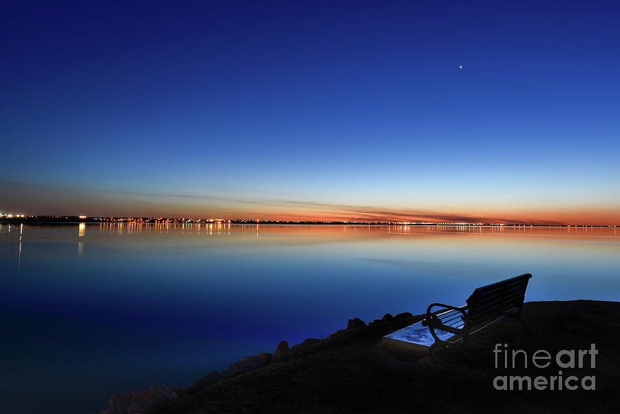 Hefner Lake Photograph - Empty seat watching the moon by Paul Quinn