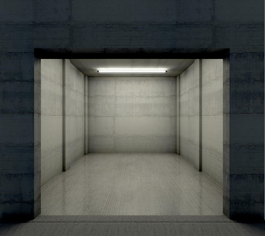 Garage Digital Art - Empty Single Garage Night by Allan Swart