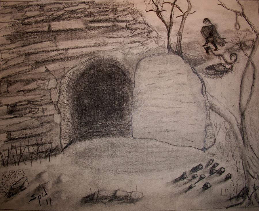 Tomb Drawing - Empty Tomb by Spencer  Joyner