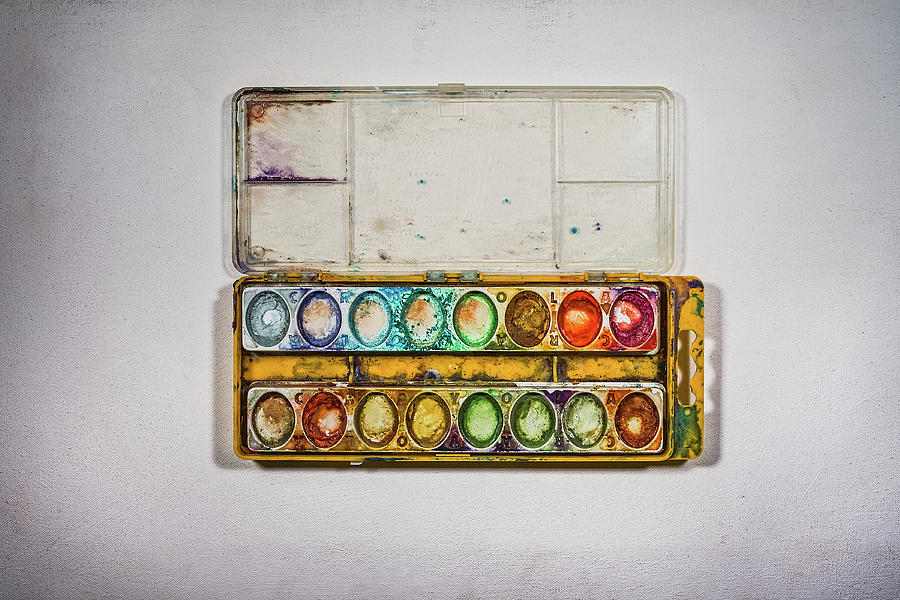 Empty Watercolor Paint Trays Photograph