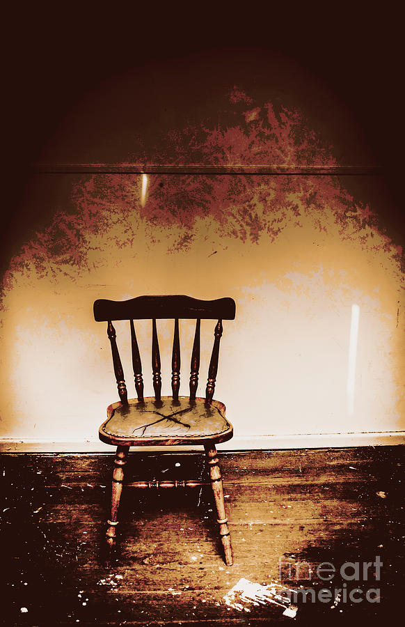 Chair Photograph - Empty Wooden Chair With Cross Sign by Jorgo Photography - Wall Art Gallery