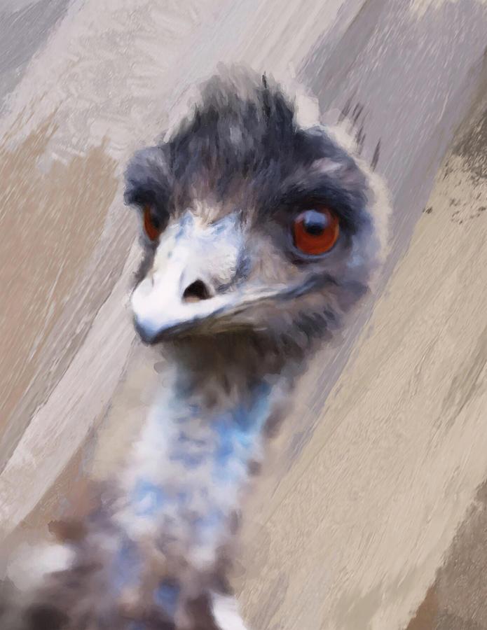 Ostrich Digital Art - Emu by Gillian Dernie