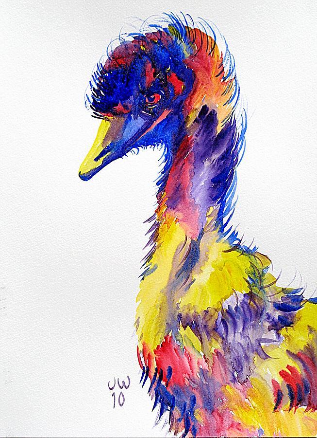 Emu in a coat of many colours by June Walker