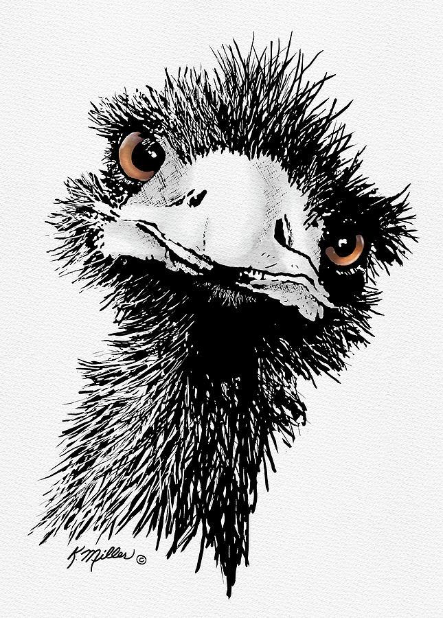 Emu Digital Art - Emu by Kathie Miller