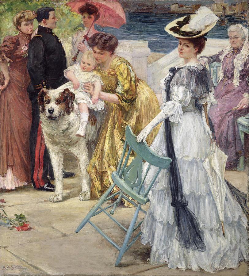 Oil Painting - En Famille by Gustave Grau
