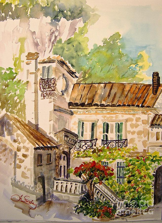 France Painting - En Plein Air At Moulin De La Roque France by Joanne Smoley