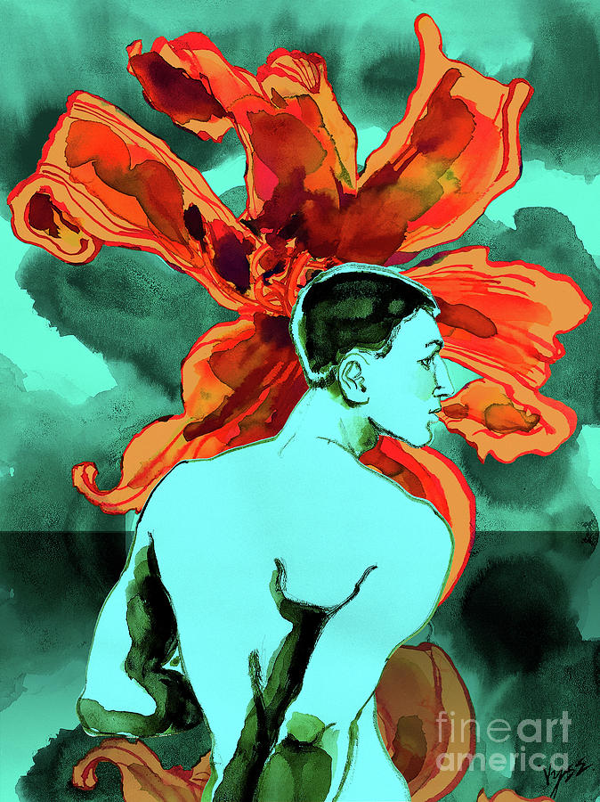 Male Nude Digital Art - Enchanted Boy With Lilies by Richard Vyse