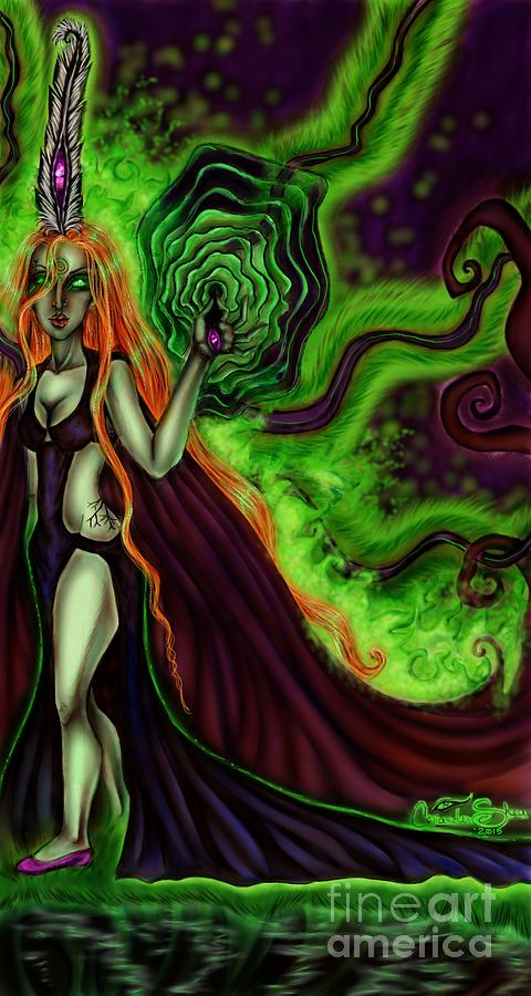 Fantasy Digital Art - Enchanted By An Emerald Flame by Coriander Shea