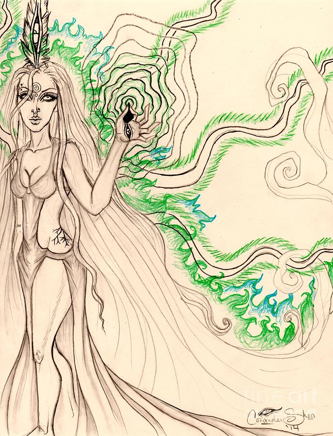 Fantasy Drawing - Enchanted By An Emerald Flame Sketch by Coriander Shea