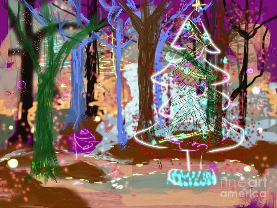 Enchanted Christmas Forest Digital Art by Mary Jane Mulholland