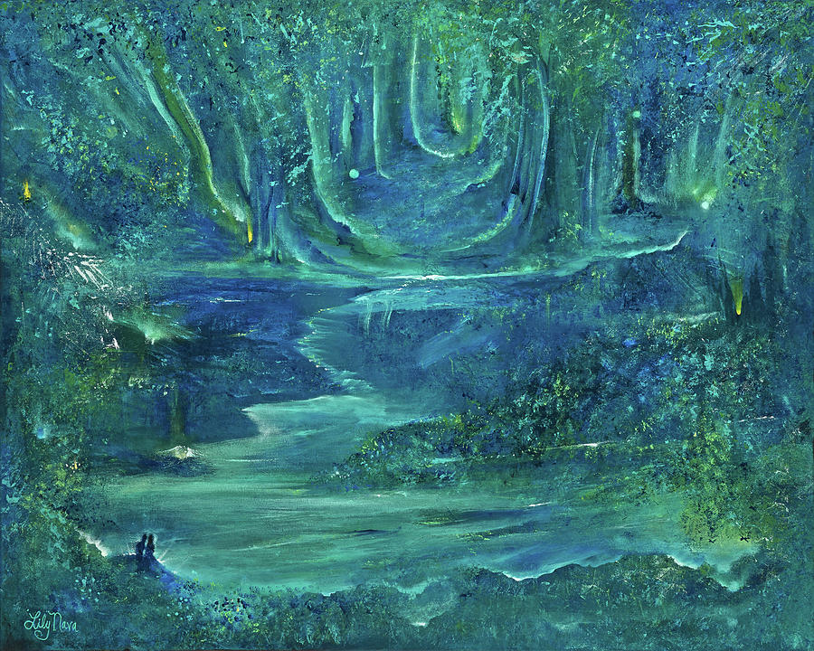 Forest Painting - Enchanted Forest by Lily Nava