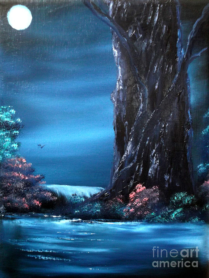 Enchanted-oak-tree Painting - Enchanted Oak By Moonlight by Cynthia Adams