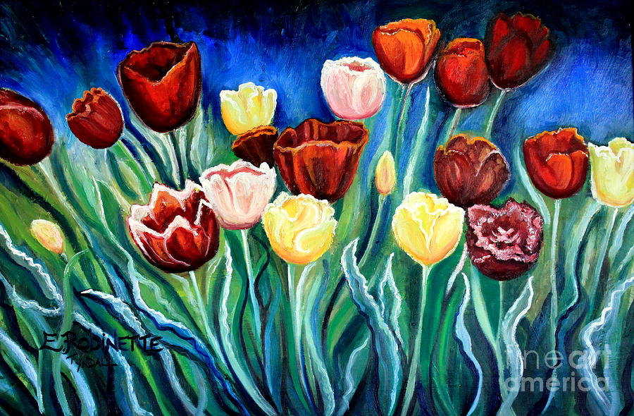 Tulips Painting - Enchanted Tulips by Elizabeth Robinette Tyndall