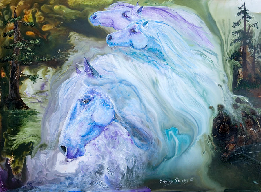 Horse Painting - Enchanted Waters by Sherry Shipley