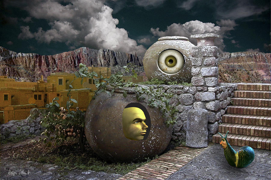 Surreal Digital Art - Encounter Of Alien Kinds by Helga Schmitt