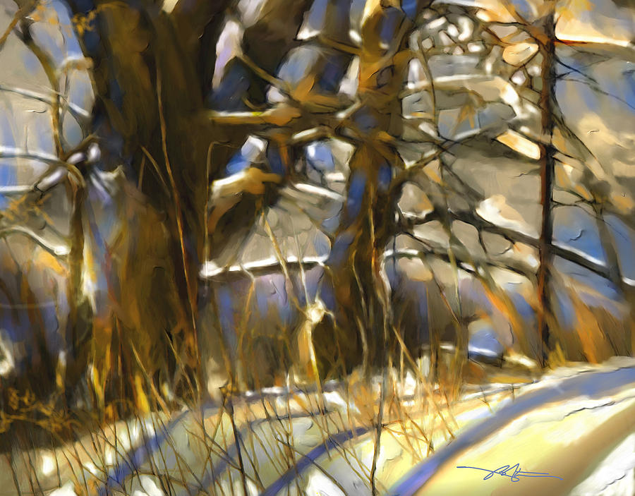 Winter Painting - End Of A Winters Day by Bob Salo