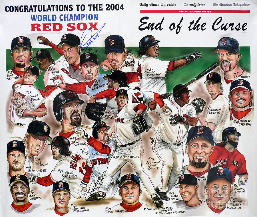 Mbl Painting - End Of The Curse Red Sox Newspaper Poster by Dave Olsen