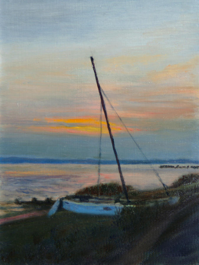 Landscape Painting - End Of The Day by Phyllis Tarlow