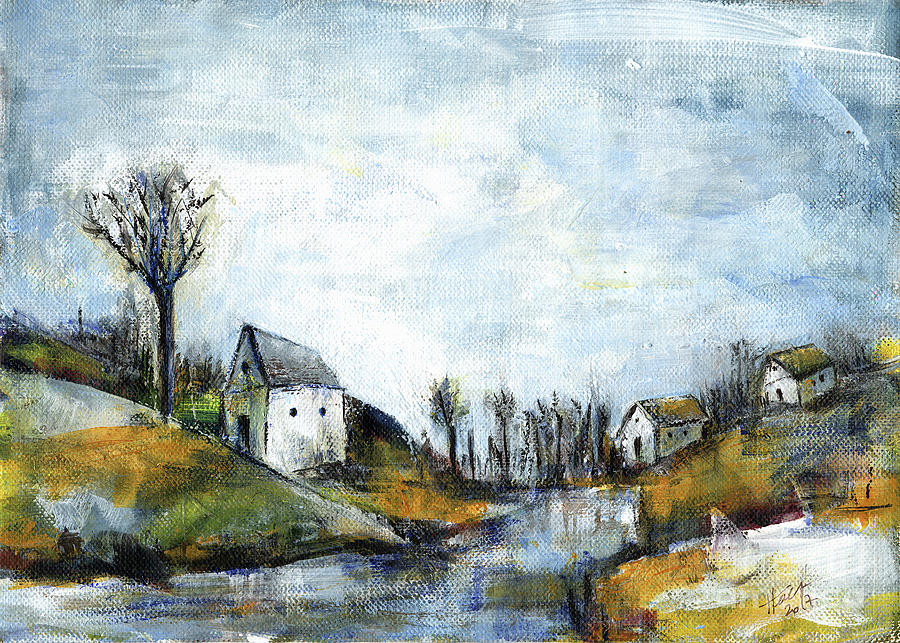 Landscape Painting - End Of Winter - Acrylic Landscape Painting On Cotton Canvas by Aniko Hencz