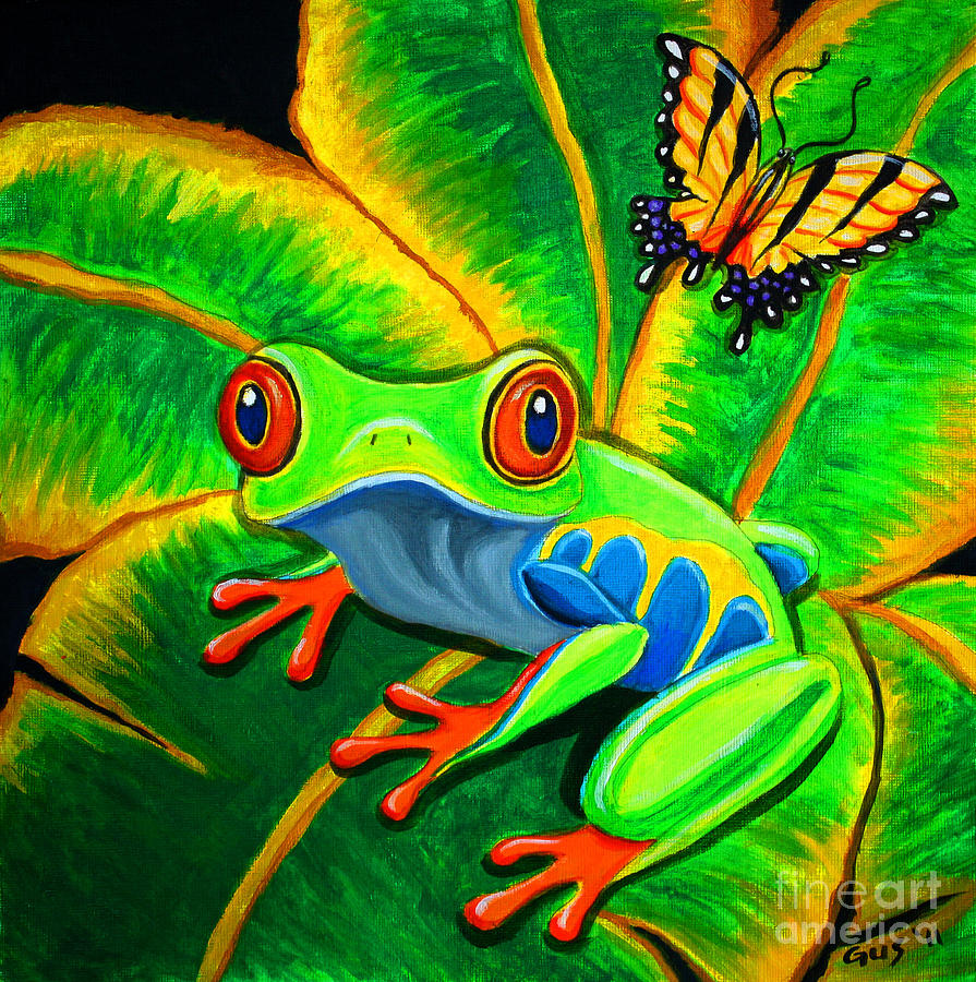 Endangered Red Eyed Tree Frog And Butterfly Painting By