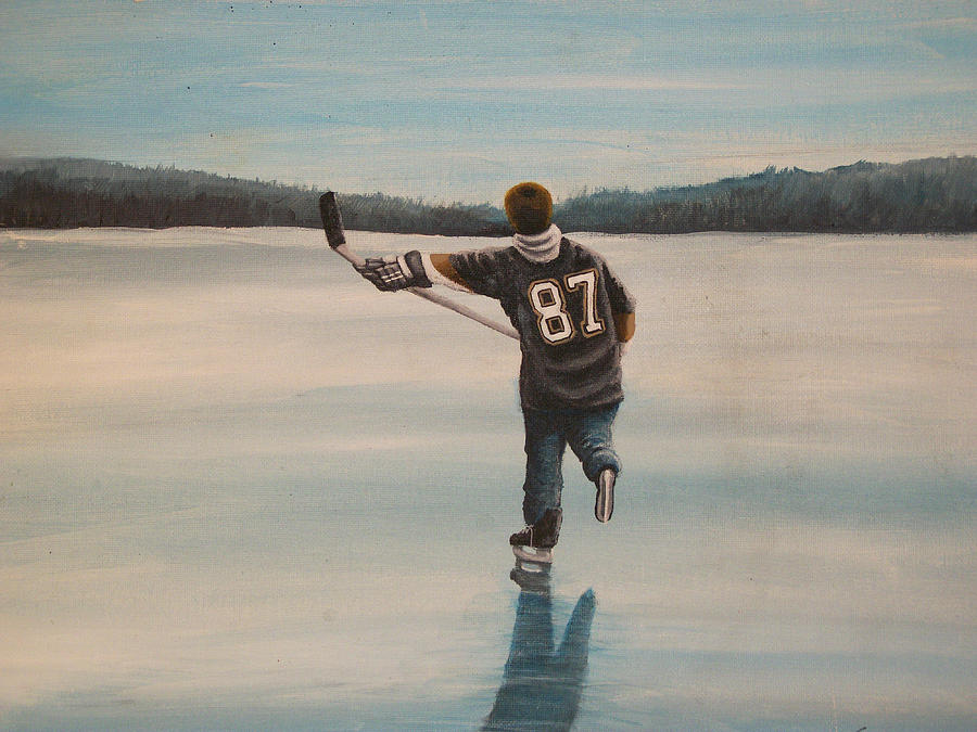 Hockey Painting - Endless Ice - Sid The Kid by Ron  Genest