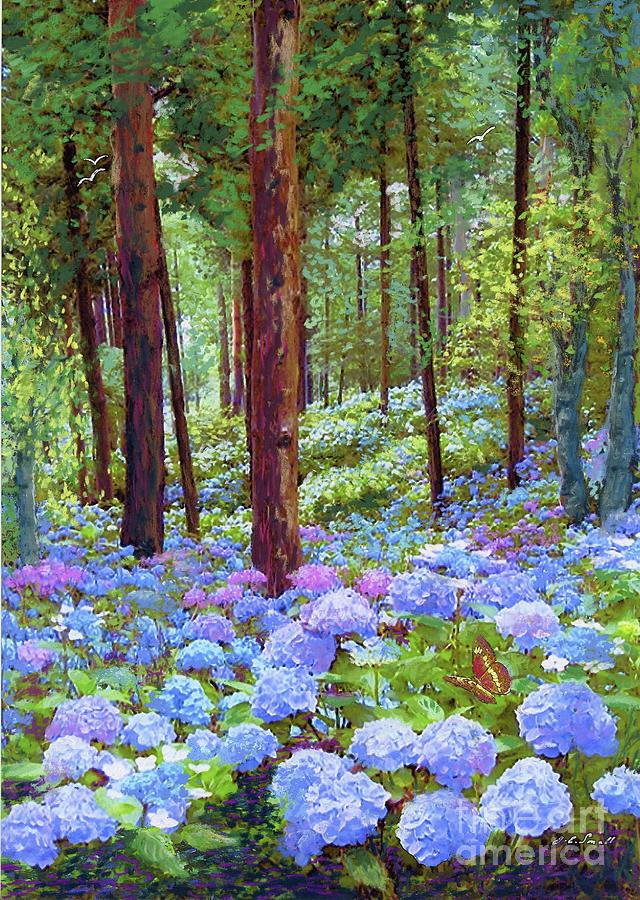 Landscape Painting - Endless Summer Blue Hydrangeas by Jane Small