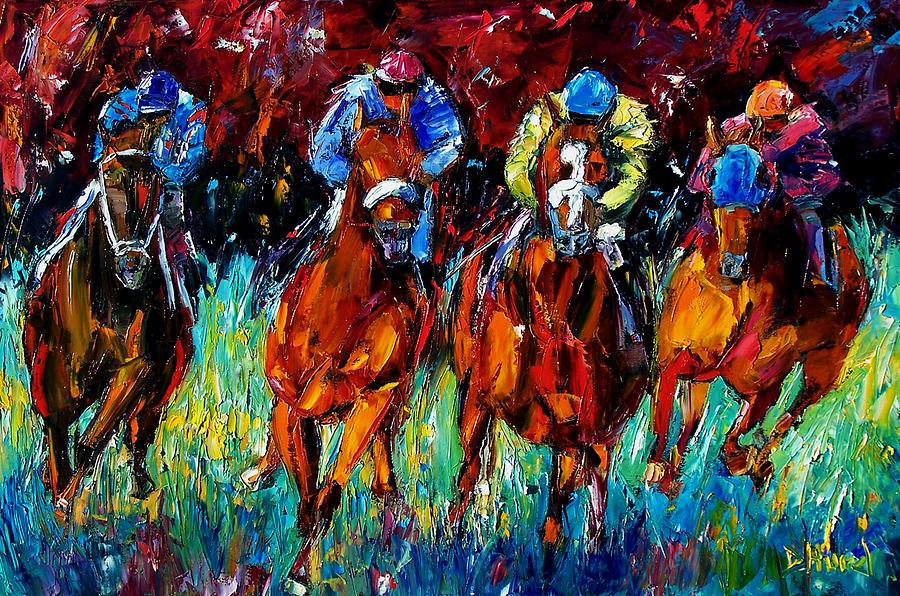 Horse Race Painting - Endurance by Debra Hurd