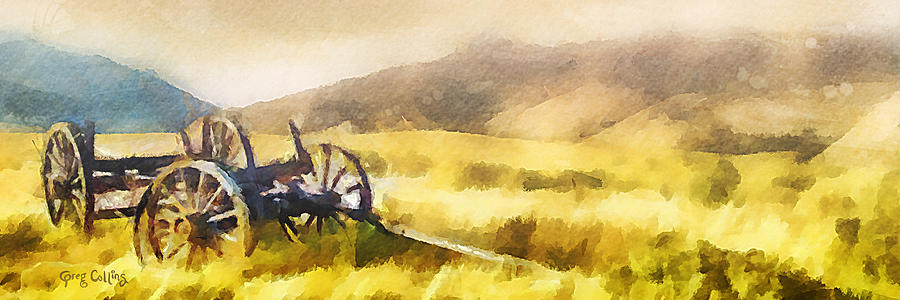 Wagon Painting - Enduring Courage - Panoramic by Greg Collins