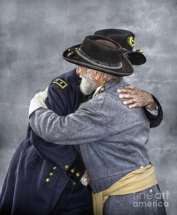 Sons Of The Confederacy Digital Art - Enemies No Longer Civil War Grant And Lee by Randy Steele