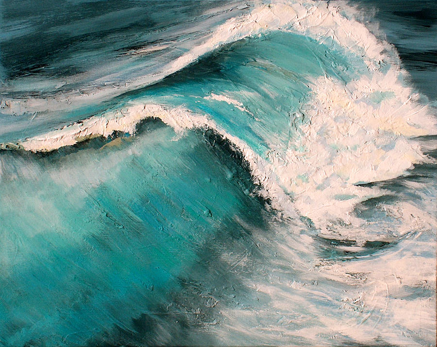 Waves Painting - Energy by Racquel Morgan