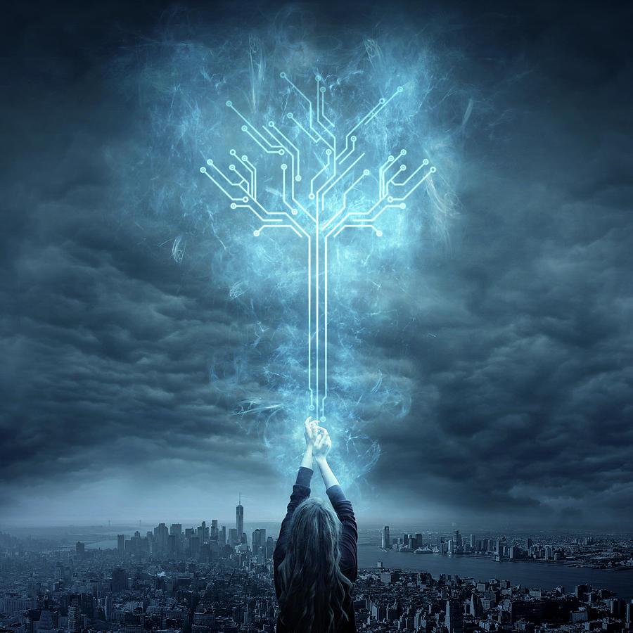 Blue Digital Art - Energy by Zoltan Toth