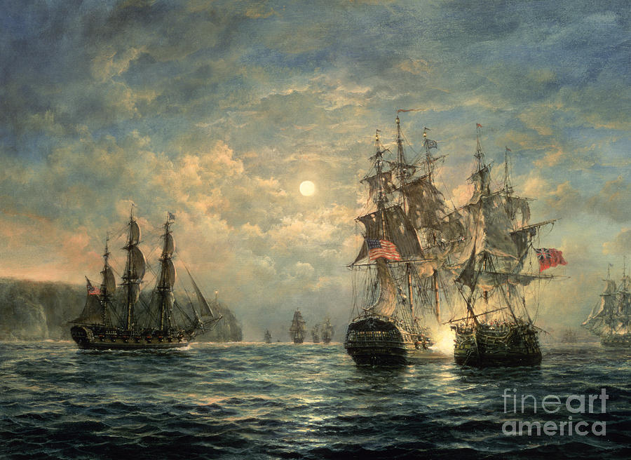 American War Of Independence Painting - Engagement Between The bonhomme Richard And The  Serapis Off Flamborough Head by Richard Willis
