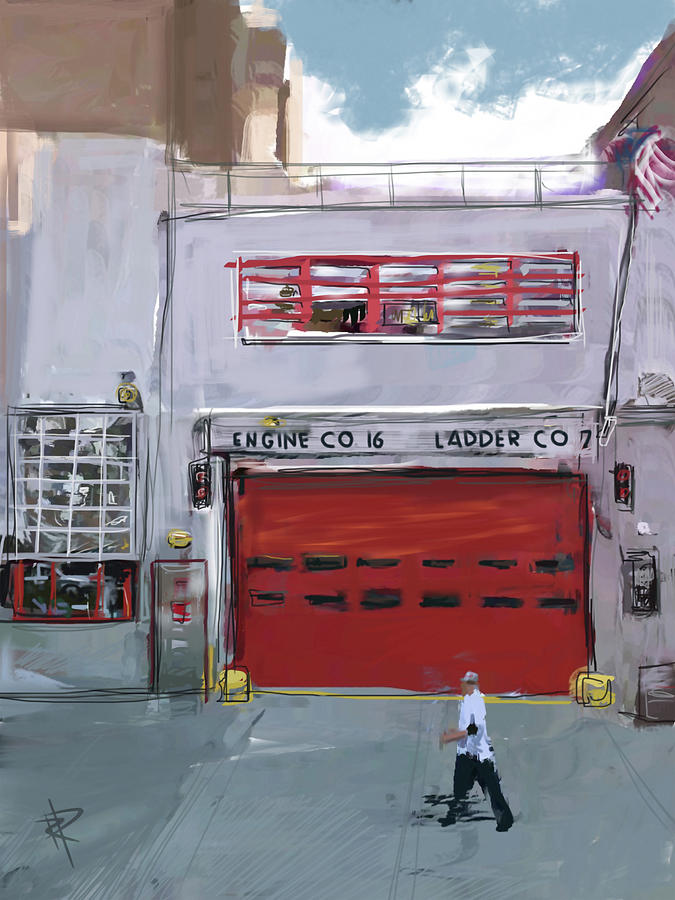 Fire House Mixed Media - Engine Co. 16 by Russell Pierce