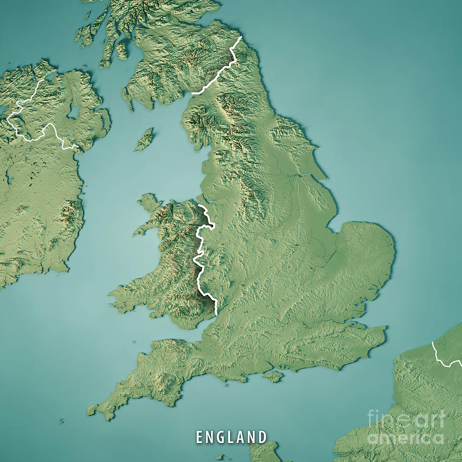 3d Map Of England.England Country 3d Render Topographic Map Border By Frank Ramspott