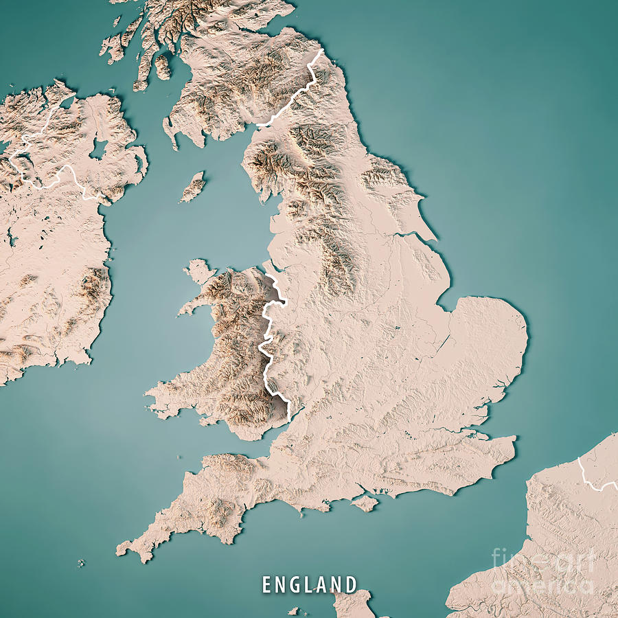 3d Map Of England.England Country 3d Render Topographic Map Neutral Border By Frank Ramspott