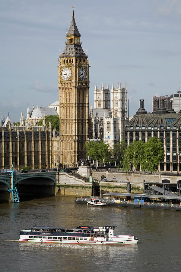 Vertical Photograph - England, London, Big Ben And Thames River by Jerry Driendl