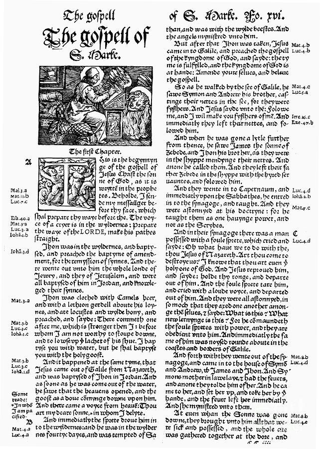 1535 Photograph - English Bible, 1535 by Granger