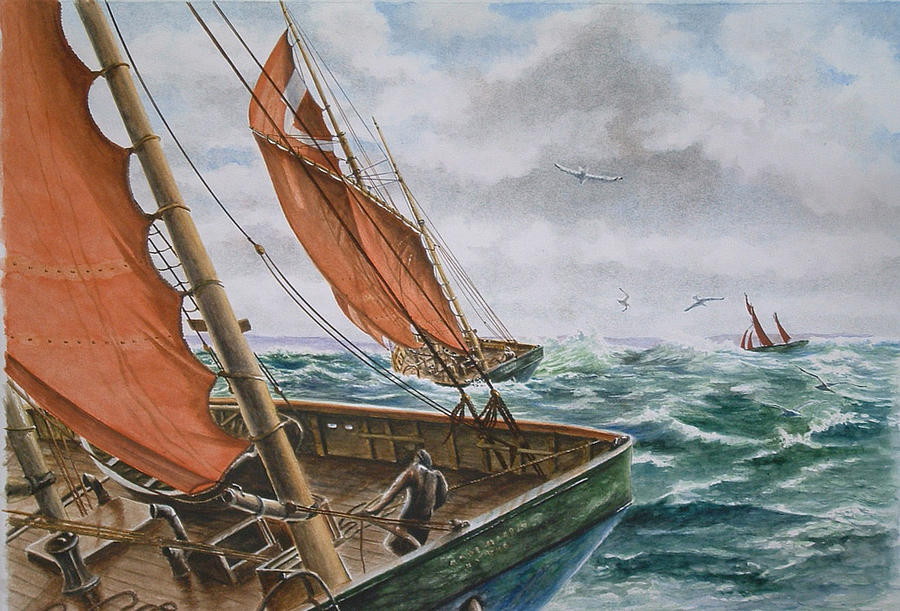 Boat Painting - English Big Sloops by Patrice Large