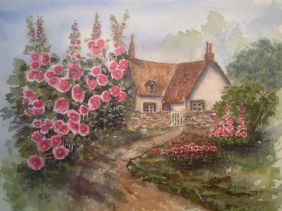 English Cottage Garden Painting By Barbie Carter