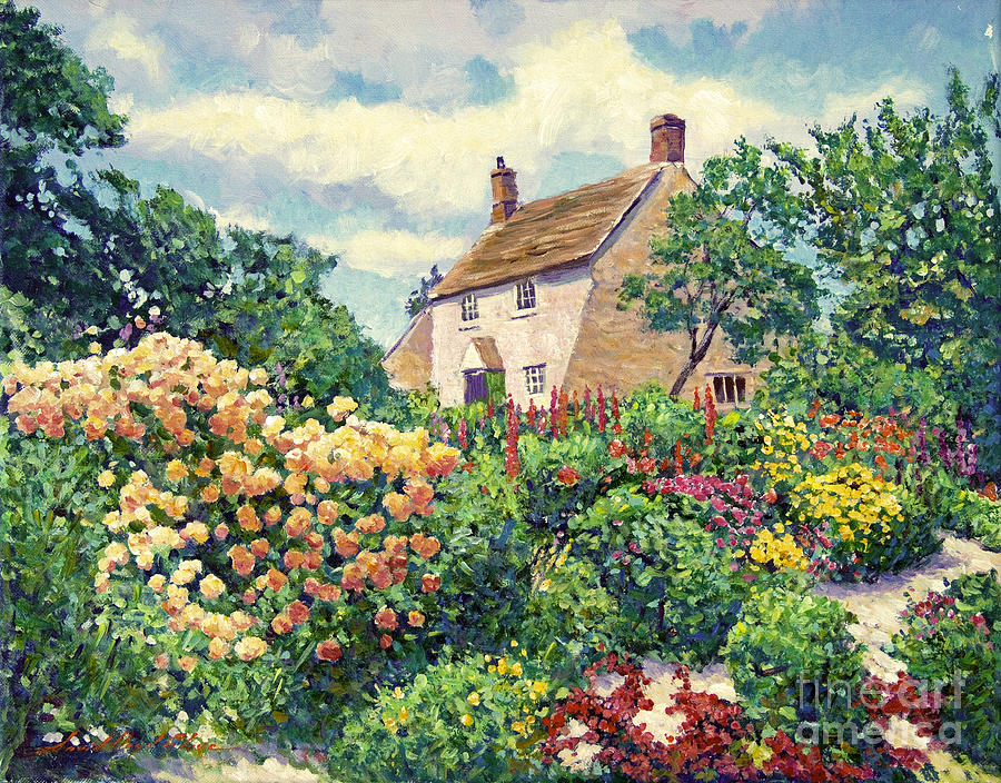 English Cottage Garden Painting By David Lloyd Glover