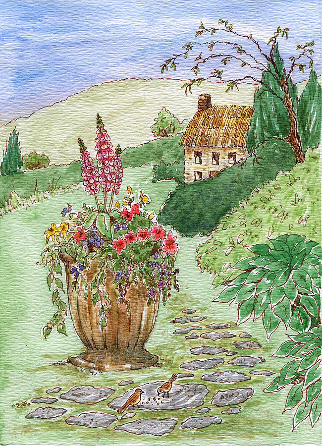 English Cottage Garden Watercolor Painting By Dianne Sherrill