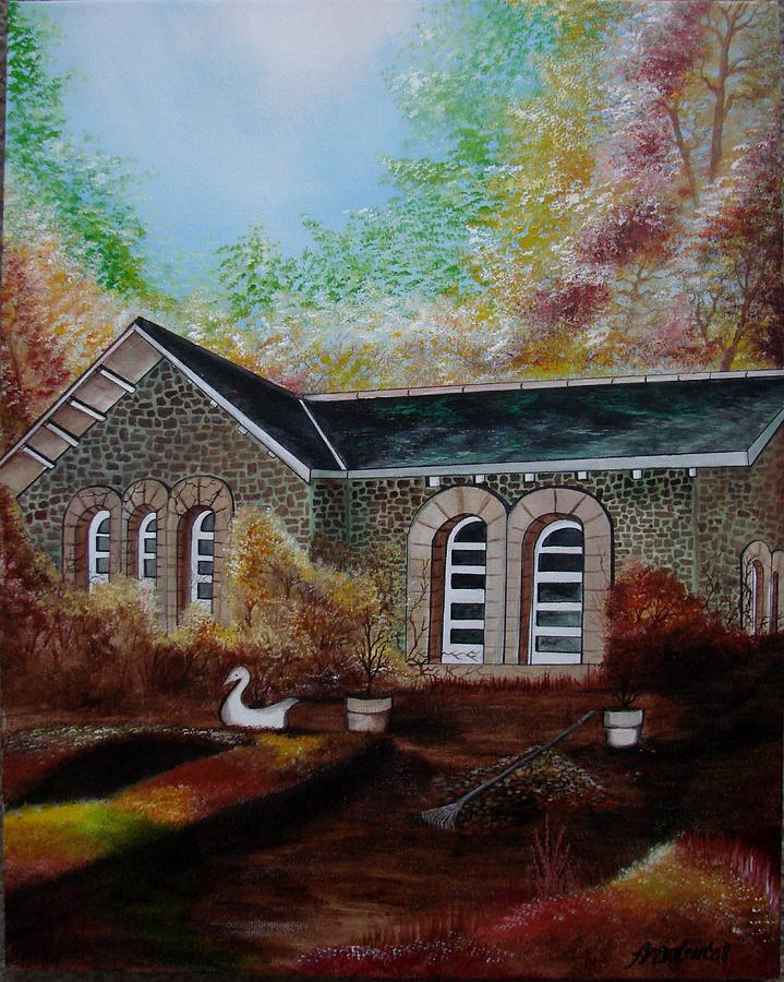 Autmn Painting - English Cottage in the Autumn by Glory Fraulein Wolfe