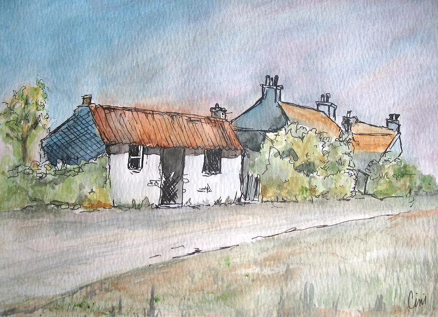 Old Painting - English Cottage by Lisa Cini