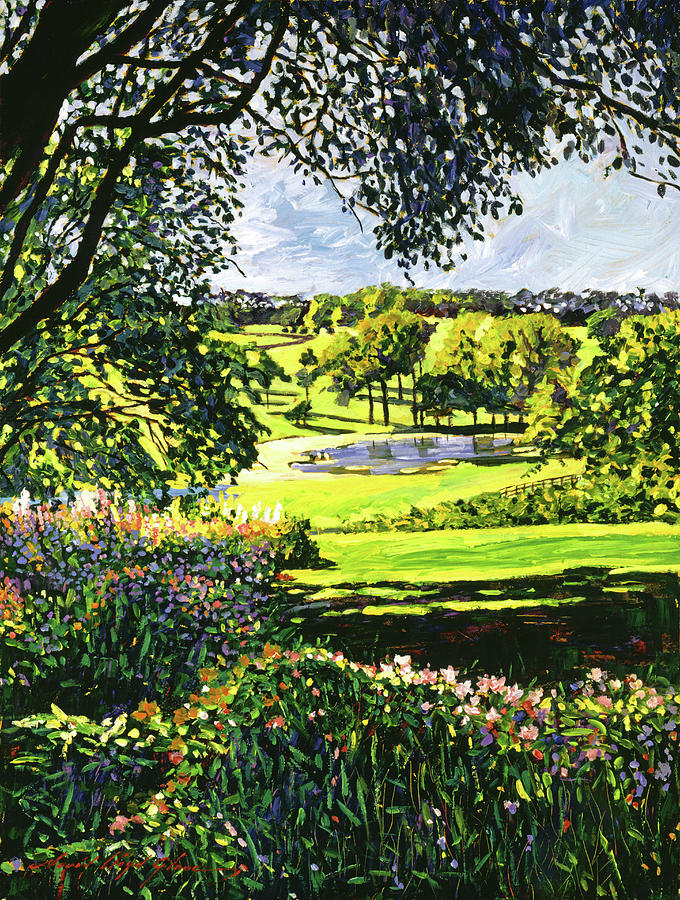 Gardens Painting - English Country Pond by David Lloyd Glover