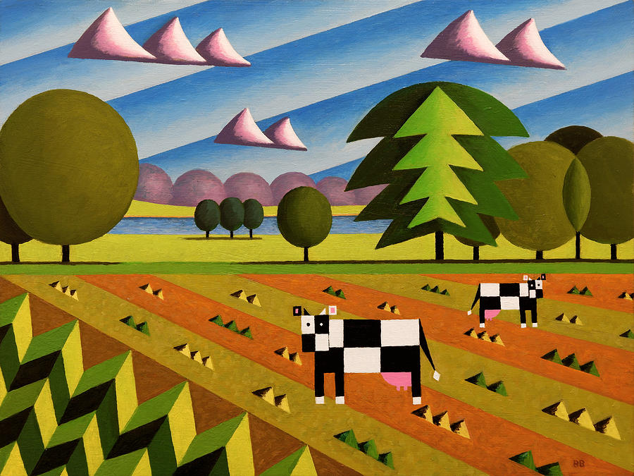 Acrylic Painting - English Countryside With Cows by Bruce Bodden