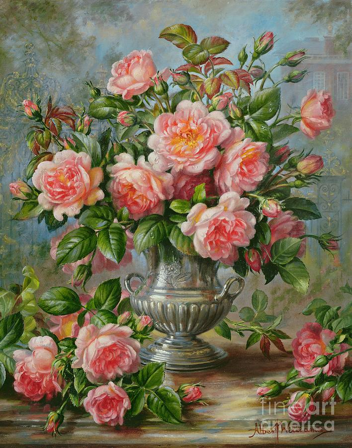 Still Life; Flower; Rose; Arrangement; Vase; Princess Of Wales (1981-96); Homage; Pink; Lady Diana Spencer; Lady Diana Painting - English Elegance Roses In A Silver Vase by Albert Williams