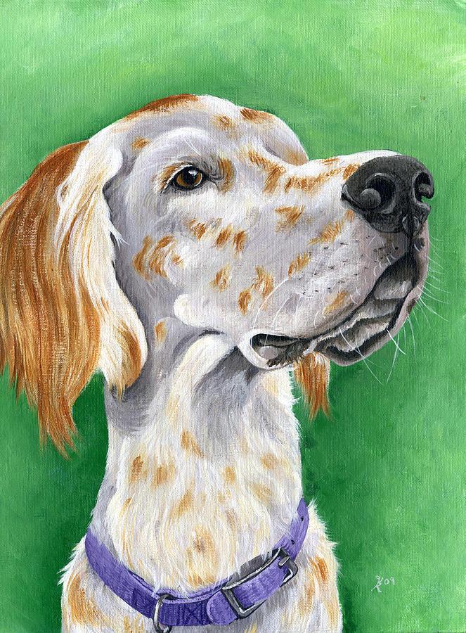 Dog Portraits Painting - English Setter by Katy Ryan