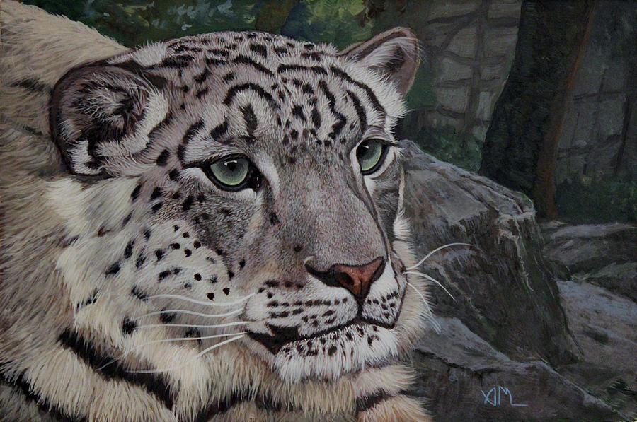 Wild Cat Painting - Enif- Snow Leopard by Antonio Marchese