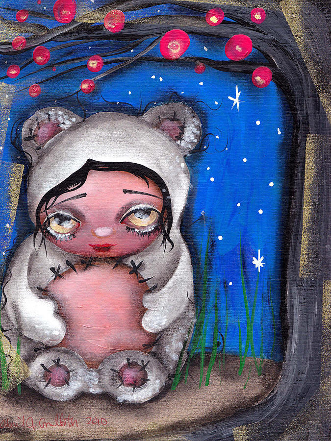 Bear Painting - Enjoying The Night by  Abril Andrade Griffith