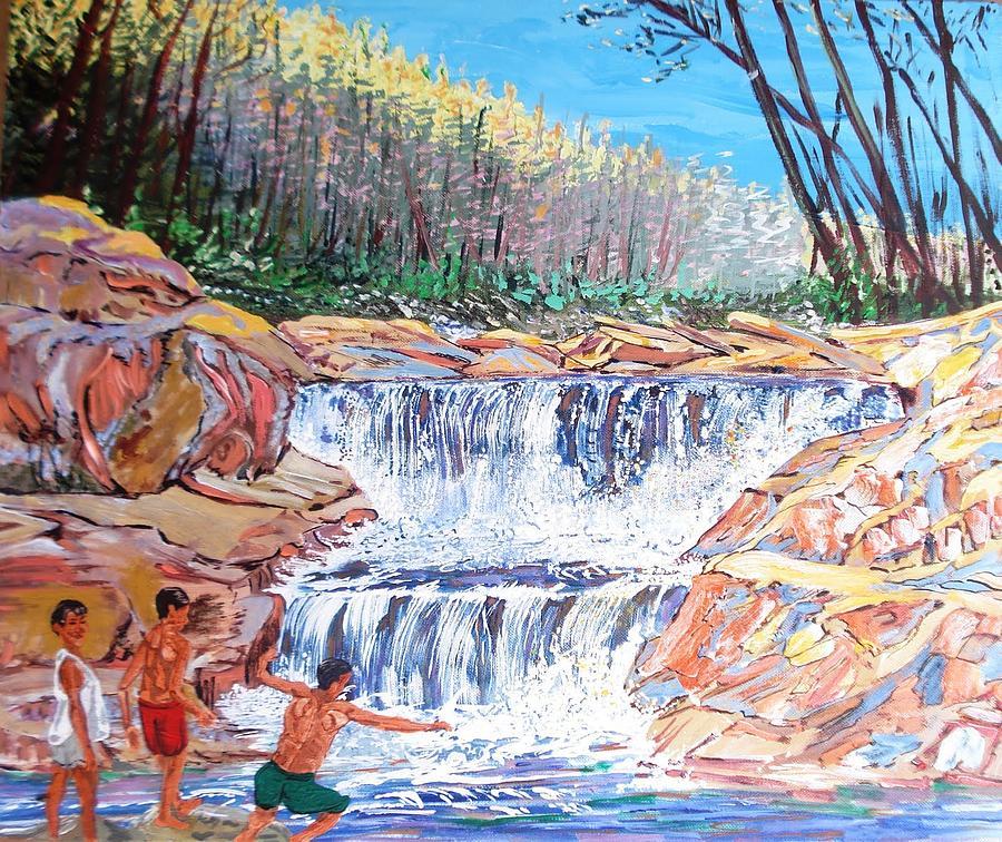 Boys Painting - Enjoying Waterfall by Narayan Iyer